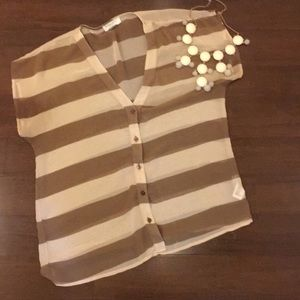 Forever 21 Brown Stripe Sheer Top